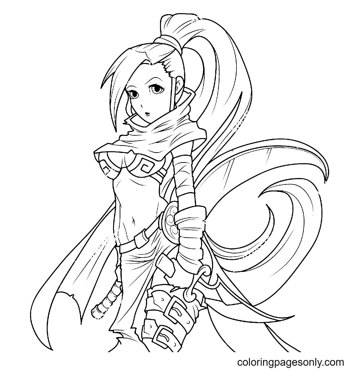 Beautiful Warrior Girl with a Knife Coloring Page