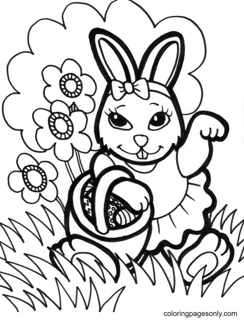 Bunny Girl Holding a Basket Easter Eggs Coloring Page