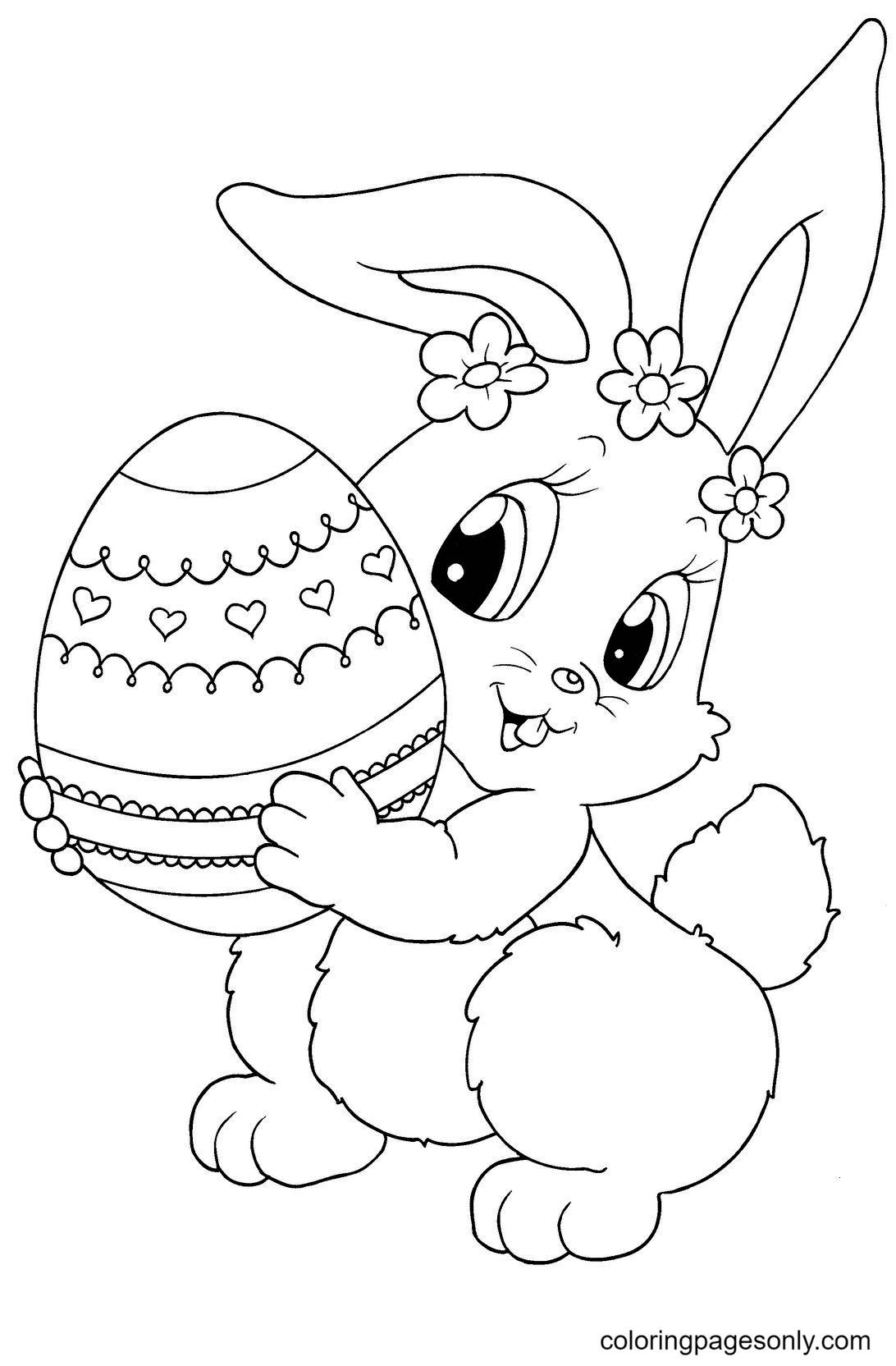 Bunny Girl Holding an Easter Egg Coloring Page