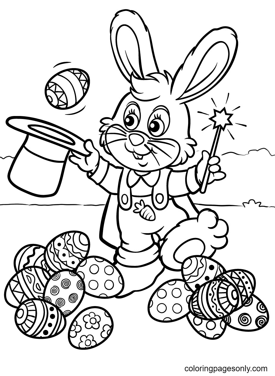 Bunny Magician Pulls Egg Out Of Hat Coloring Page