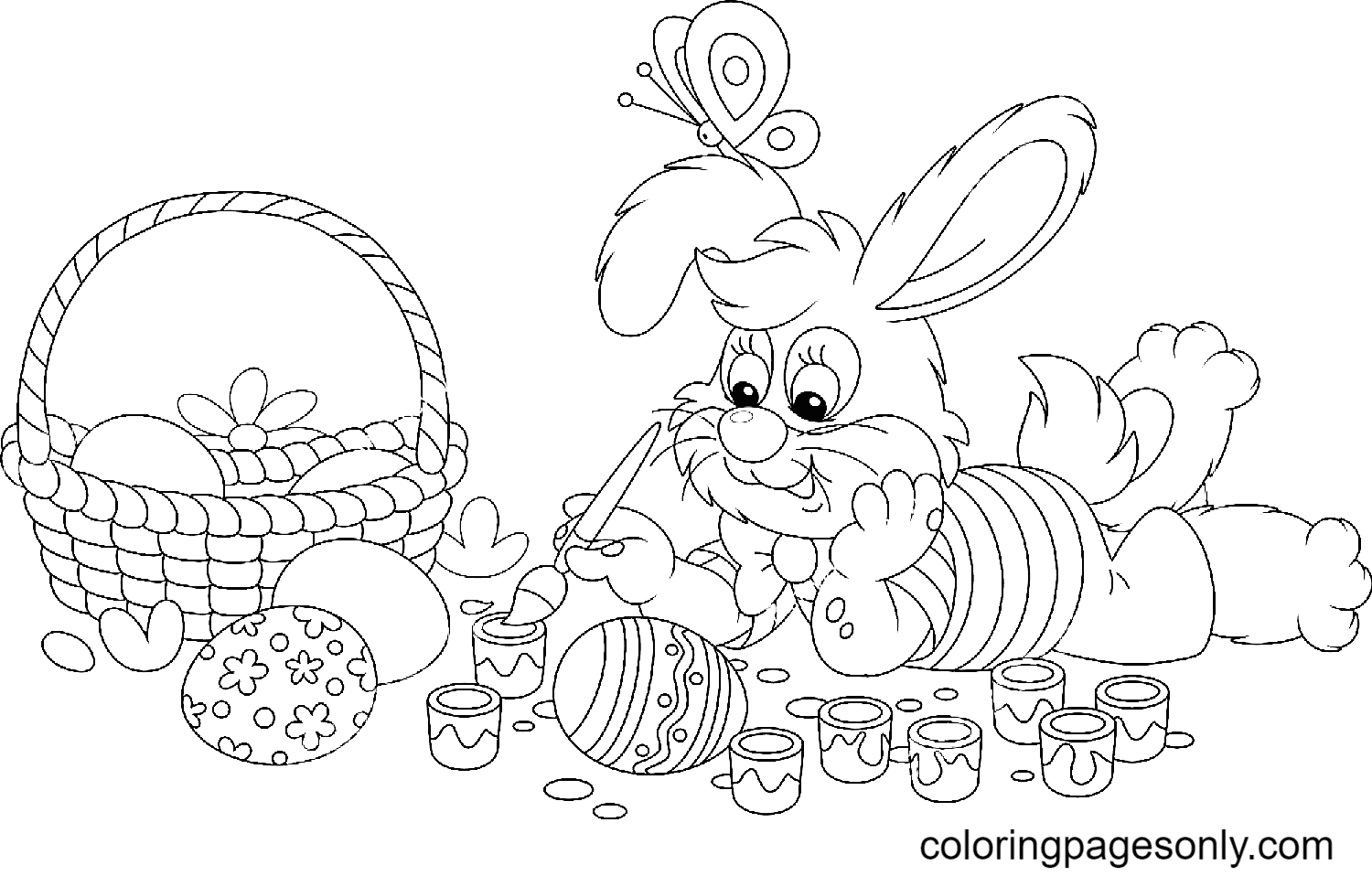 Bunny Painting Easter Eggs with an Art Paintbrush Coloring Page