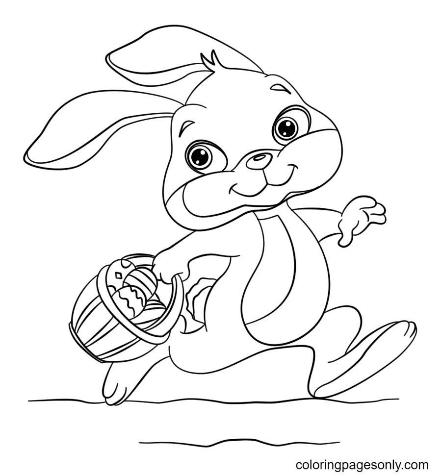 Bunny Running with Easter Eggs in a Basket Coloring Page