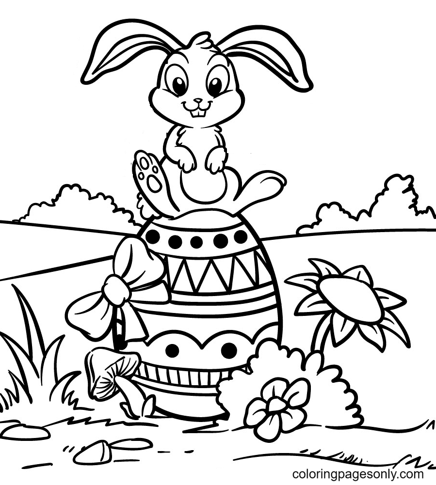 Bunny Sitting On Easter Egg Coloring Page