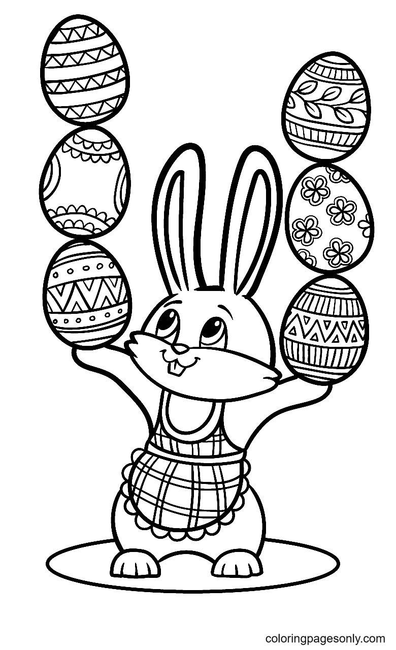 Bunny Stacking Easter Eggs Coloring Page