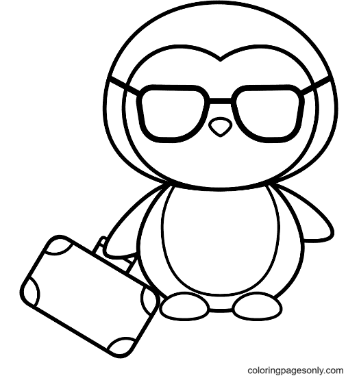 Business Penguin Coloring Page