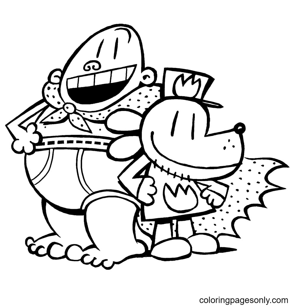 Captain Underpants and Dog Man Coloring Page