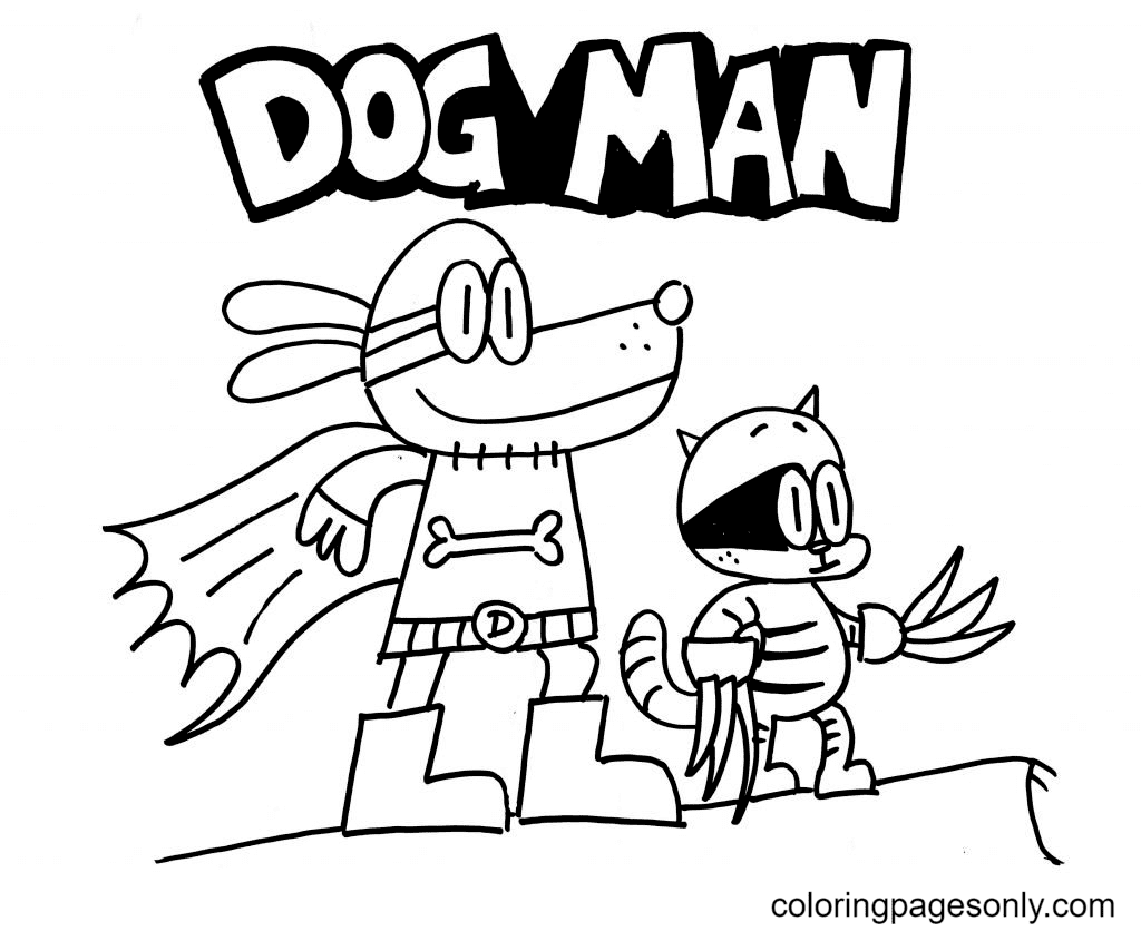 Cartoon Dog Man with Cat Coloring Page