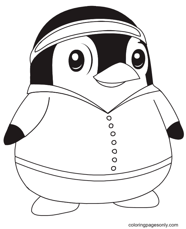 Cartoon Penguin Free Coloring Page