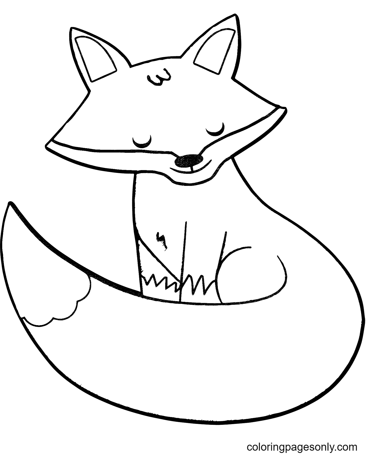 Cartoon Red Fox Coloring Page