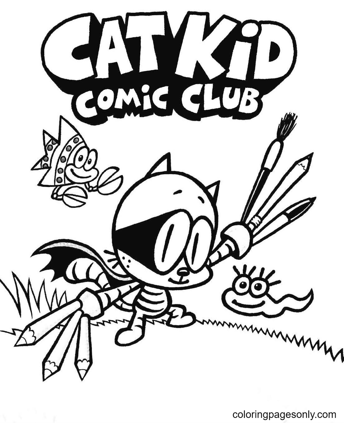 Cat Kid Coloring Page