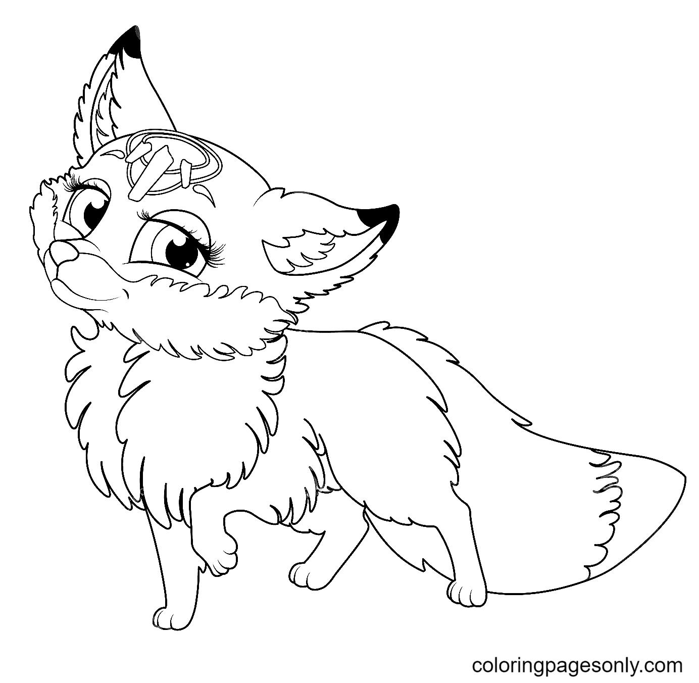 Charming Princess Fox Coloring Page