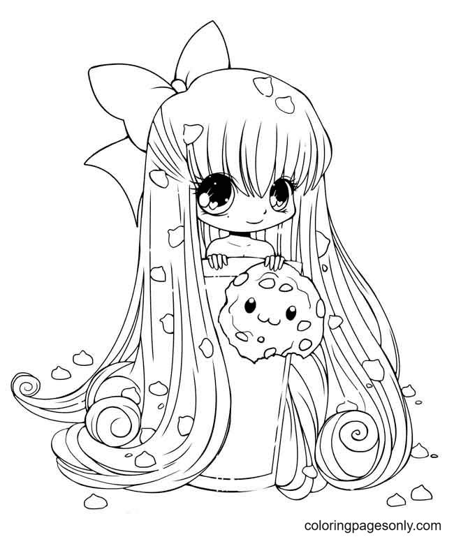Chibi Anime Girl with Cookies Coloring Page