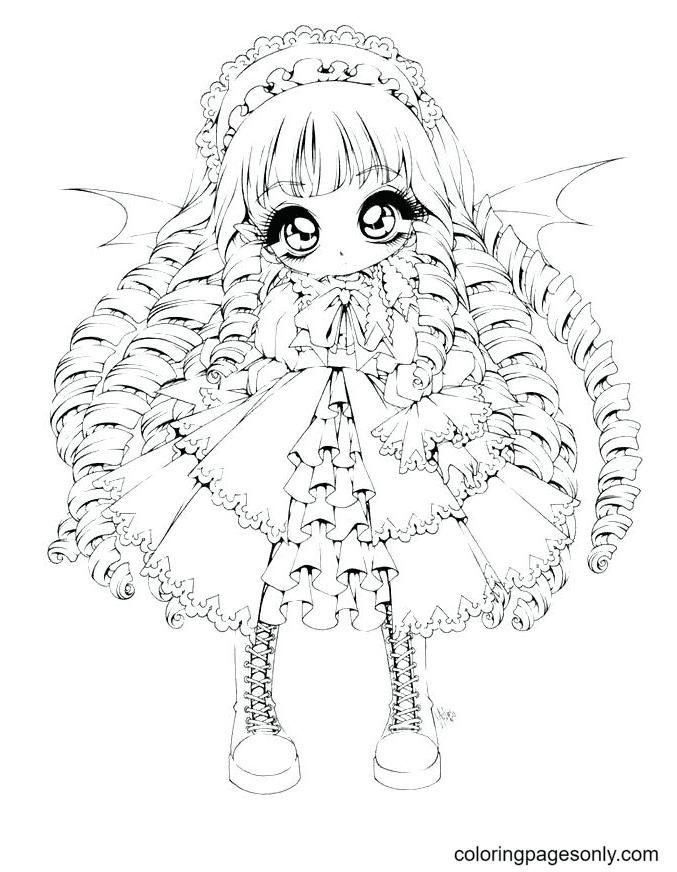 Chibi Anime Girl Coloring Page