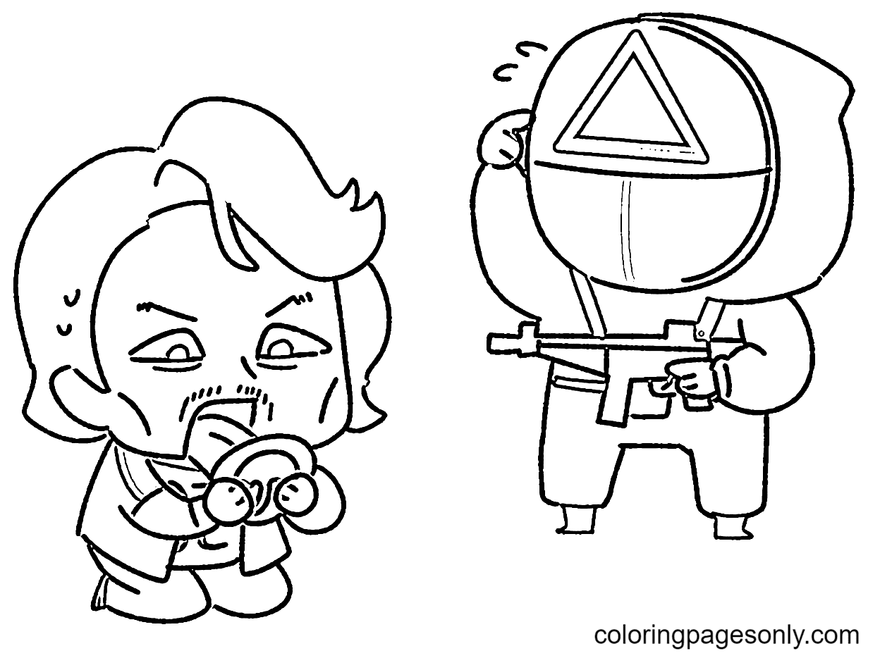 Chibi Squid Game Coloring Page
