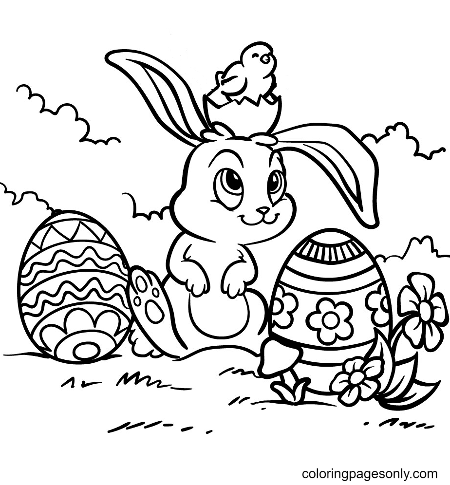 Chick Sitting on the Head Easter Bunny Coloring Page