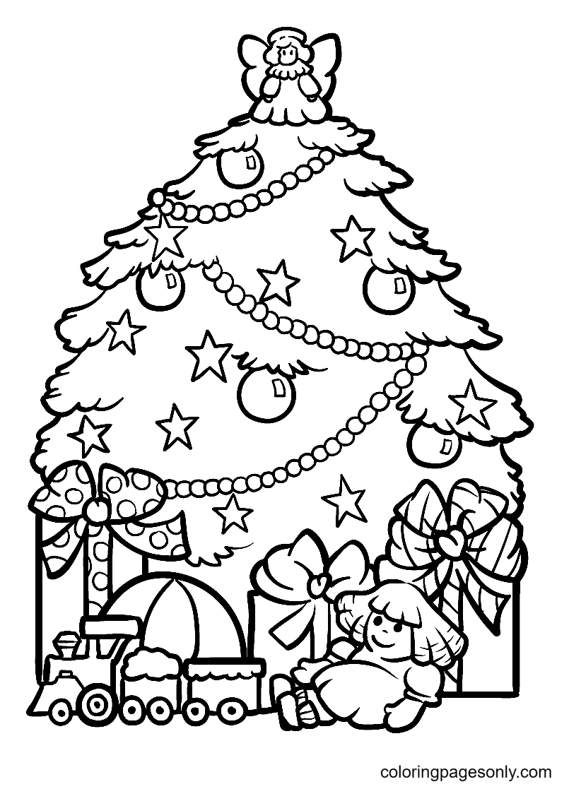 Christmas Angel Decoration Christmas Tree Coloring Page