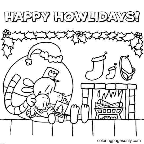 Christmas Dog Man Coloring Page