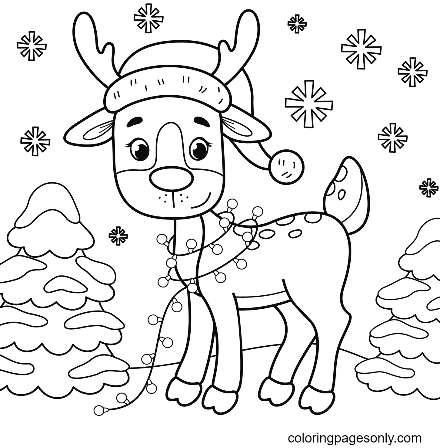 Christmas Little Reindeer Coloring Page