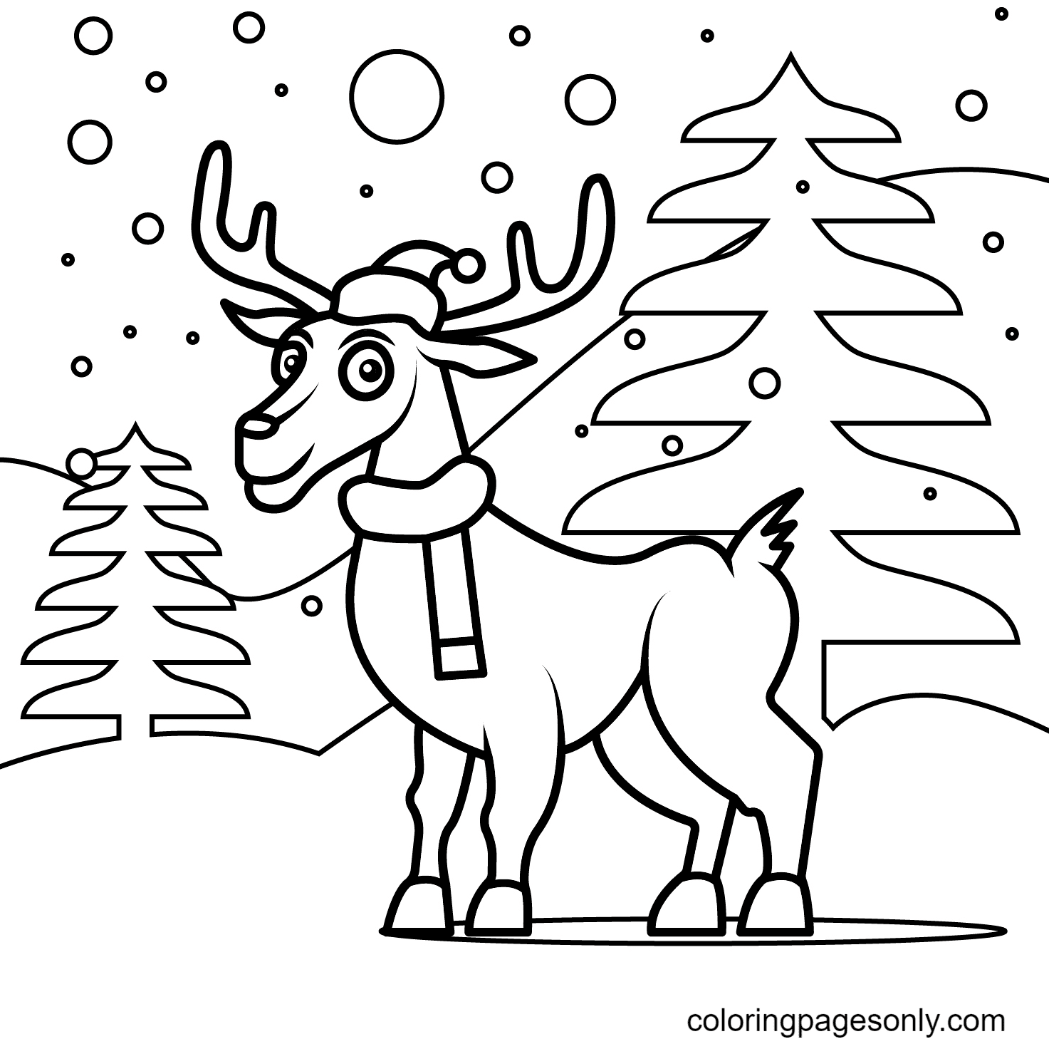 Christmas Reindeer Standing On the Snowy Mountain Coloring Page