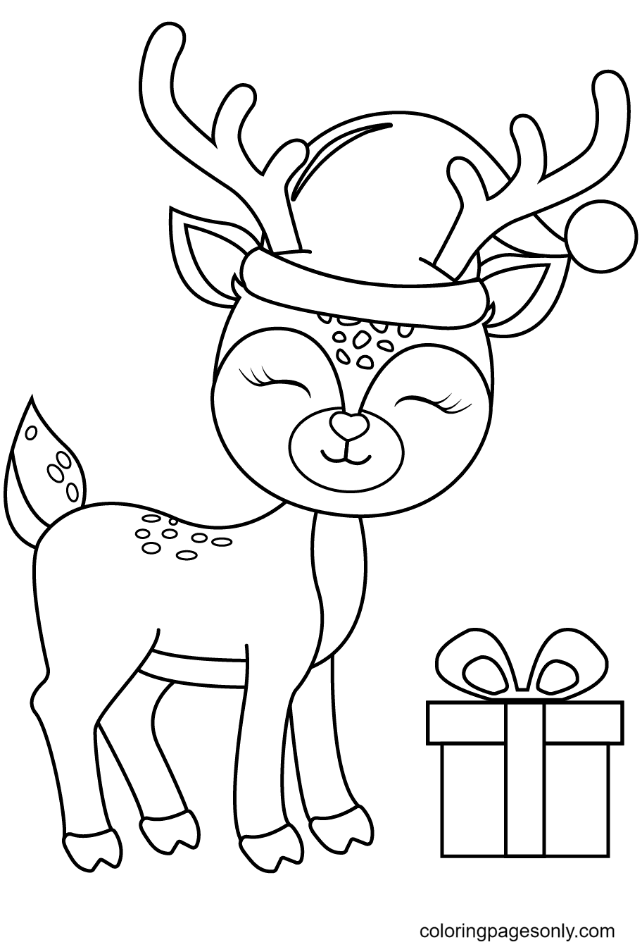 Christmas Reindeer With Gift Box Coloring Page