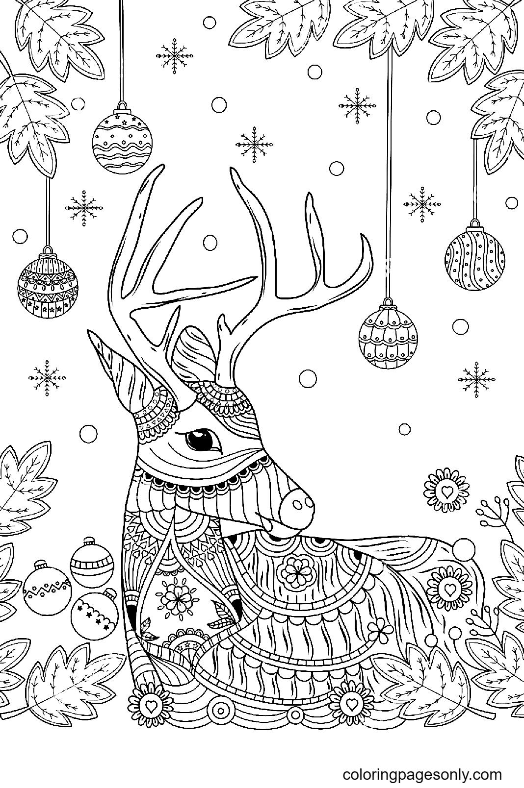 Christmas Reindeer Zentangle Coloring Page