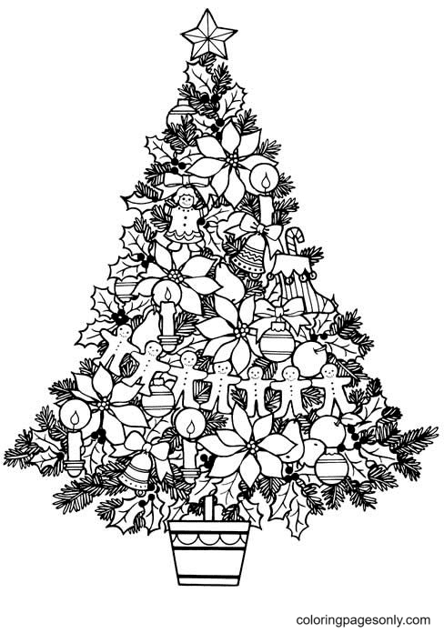 Christmas Tree For Children Coloring Page