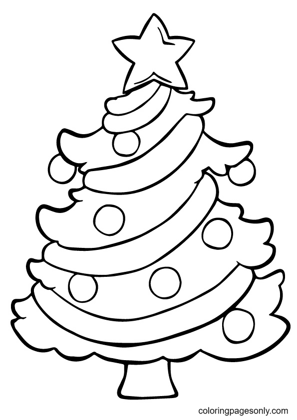 Christmas Tree For Kids Coloring Page
