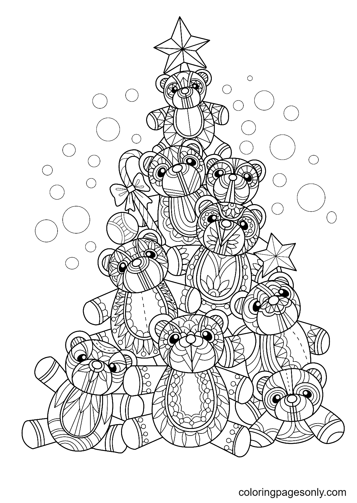 Christmas Tree Made of Teddy Bears Coloring Page