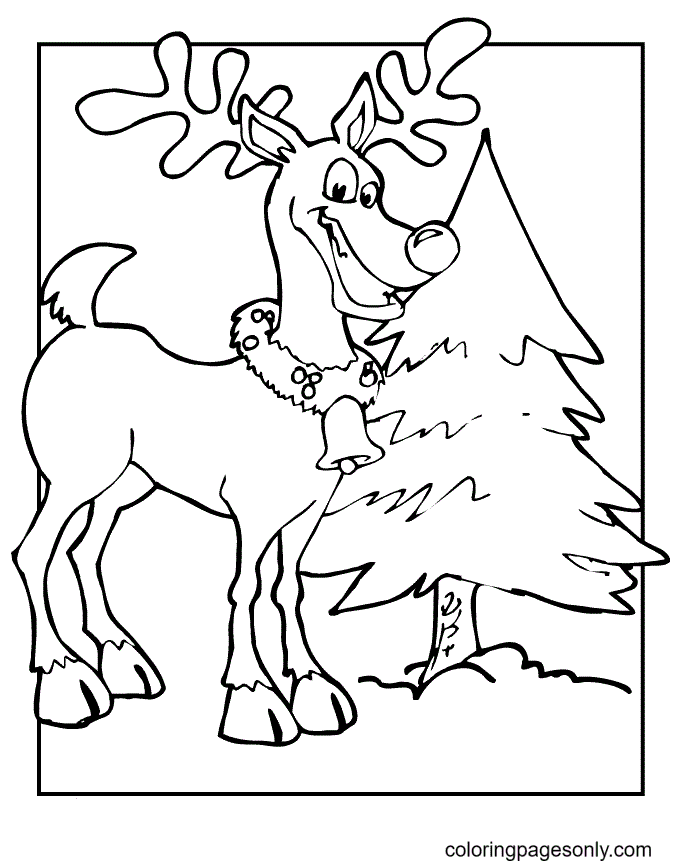 Christmas Tree Makes Reindeer Happy Coloring Page