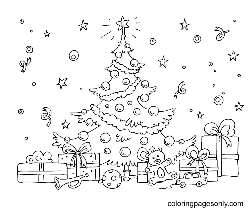 Christmas Tree Ornaments Coloring Page