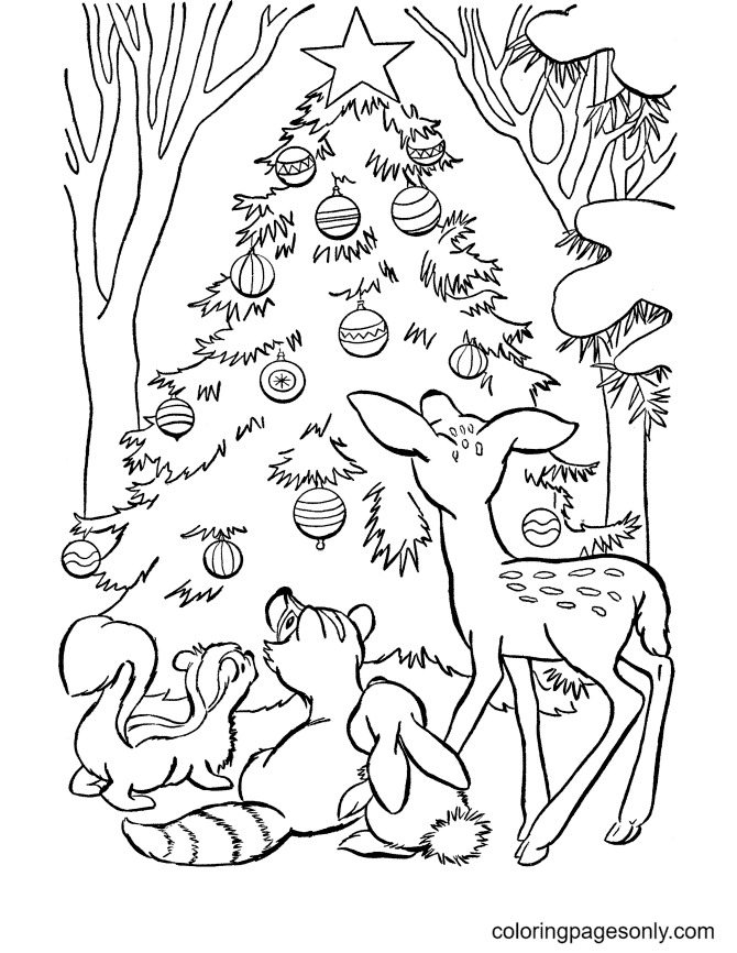 Christmas Tree and Animals Coloring Page