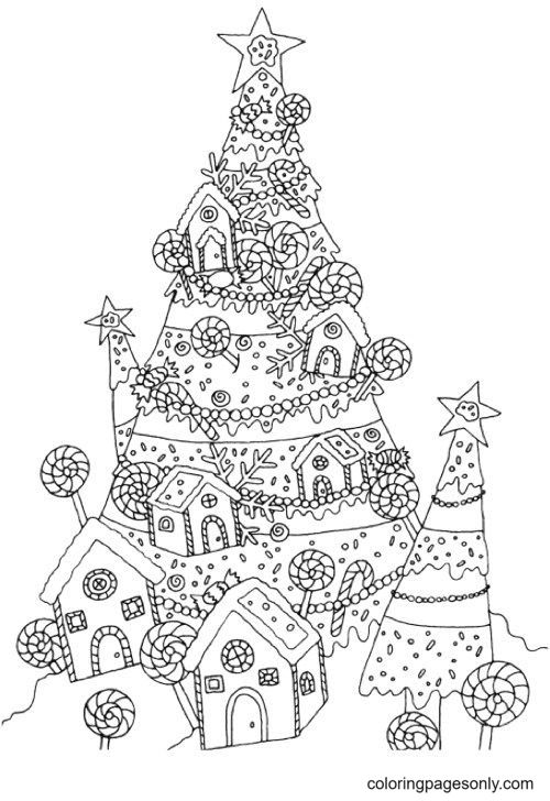 Christmas Tree and Candy House Coloring Page