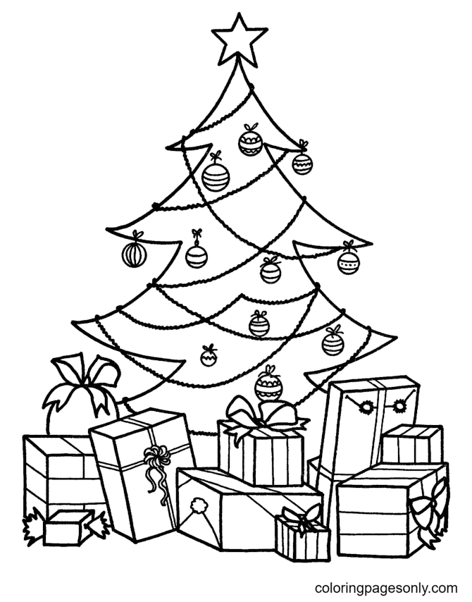 Christmas Tree and Gift Boxes Coloring Page