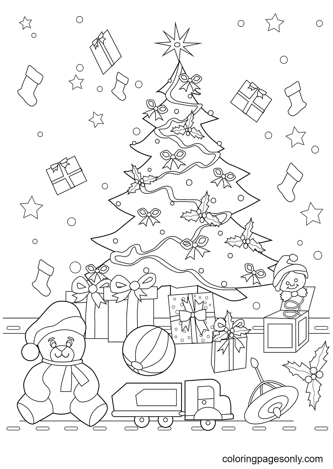 Christmas Tree and Presents Coloring Page
