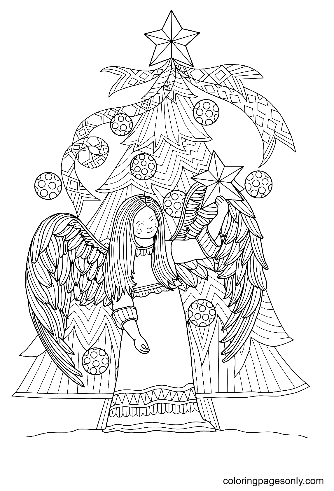 Christmas Tree with An Angel Coloring Page