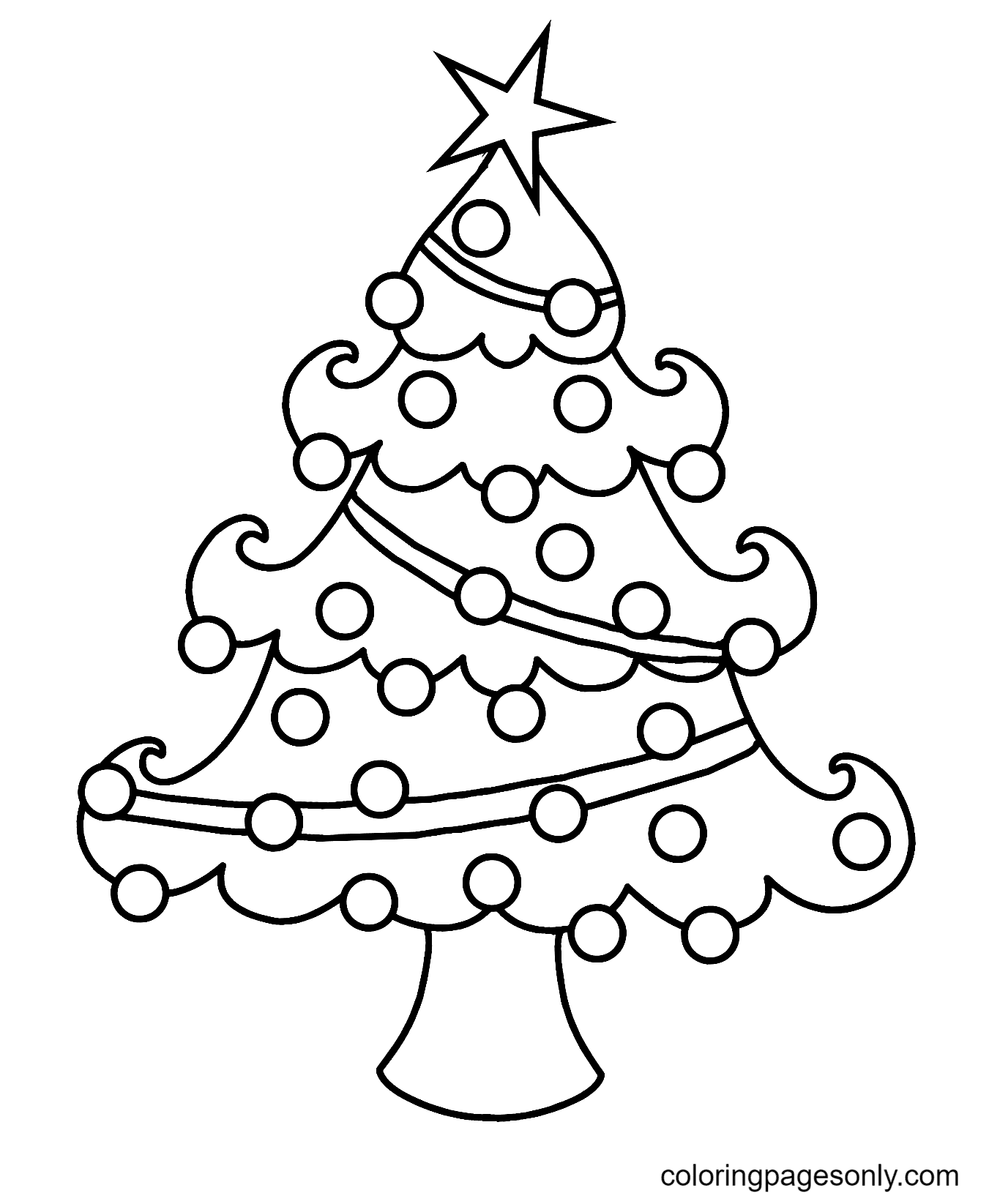 Christmas Tree with Ornaments Coloring Page