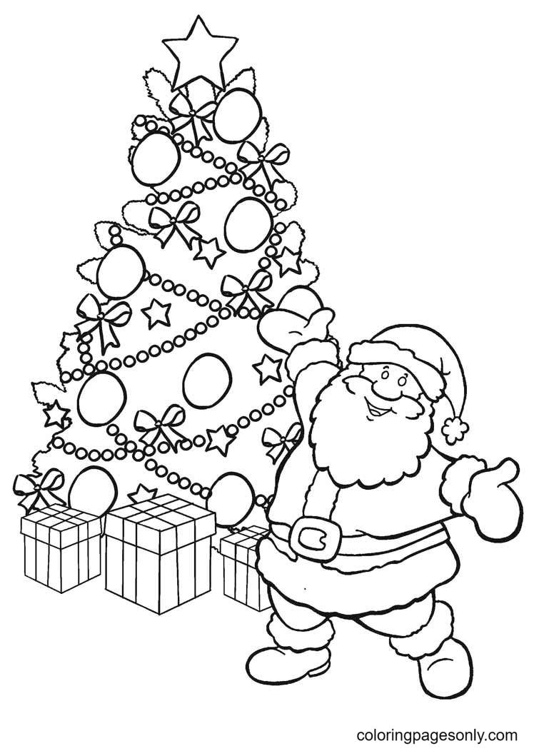 Christmas Tree with Santa Coloring Page