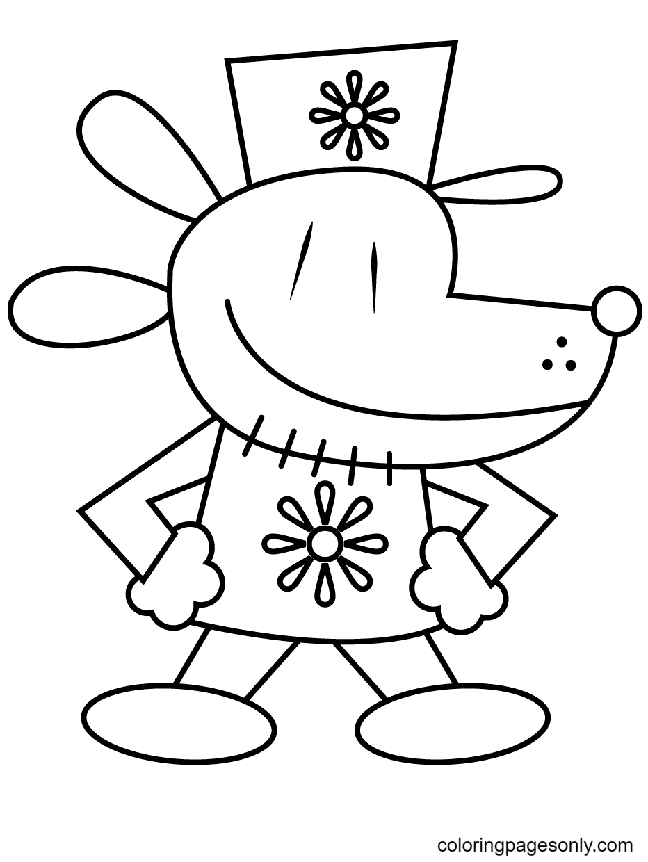 Confident Dog Man Coloring Page