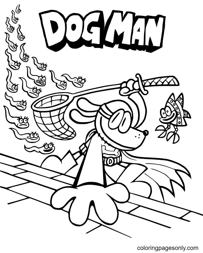Cool Dog Man Coloring Page