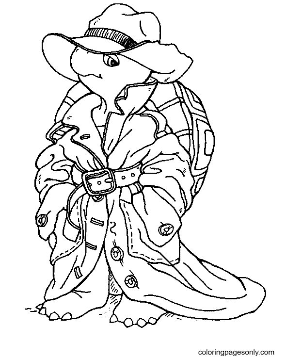 Cool Turtle Coloring Page
