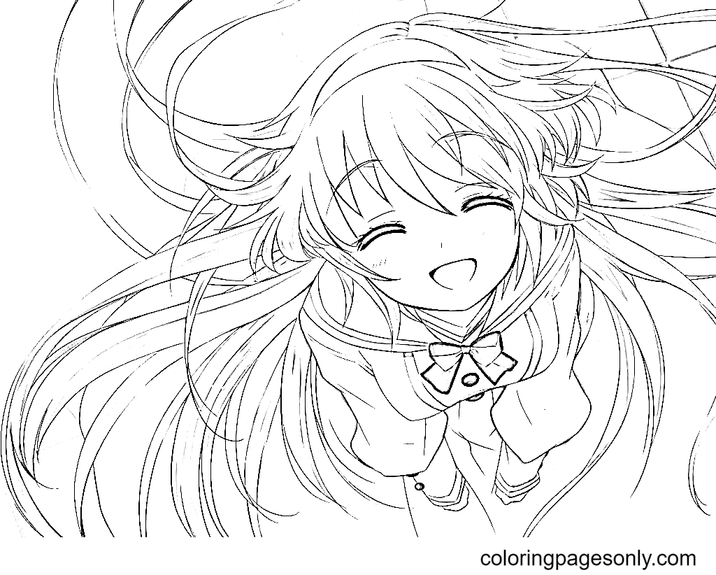 Cute Anime Girl with Long Hair Coloring Page