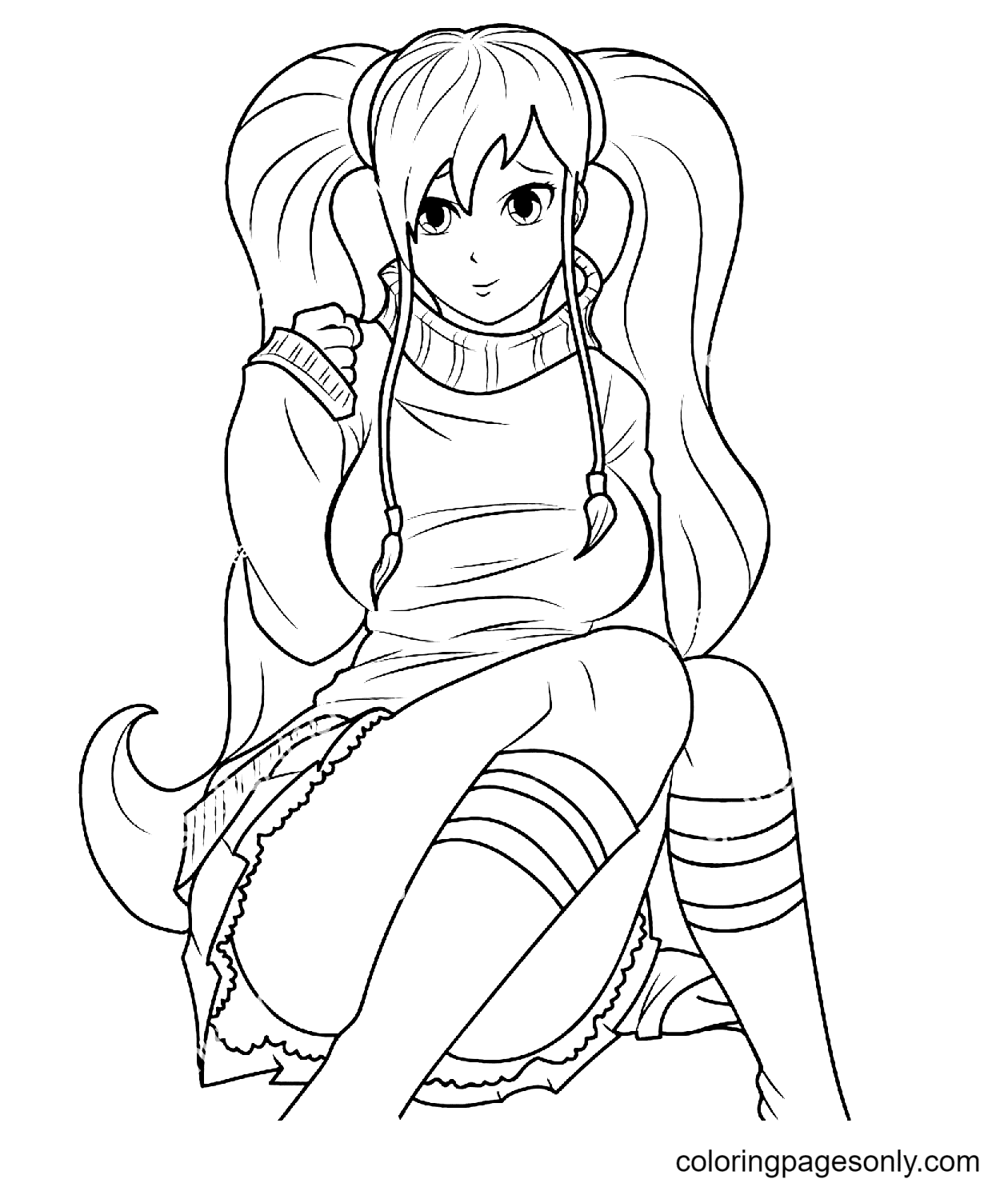 Cute Anime Girl with a Nice Haircut Sitting Coloring Page