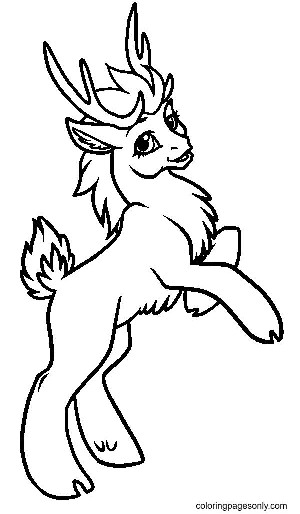 Cute Anime Reindeer Coloring Page