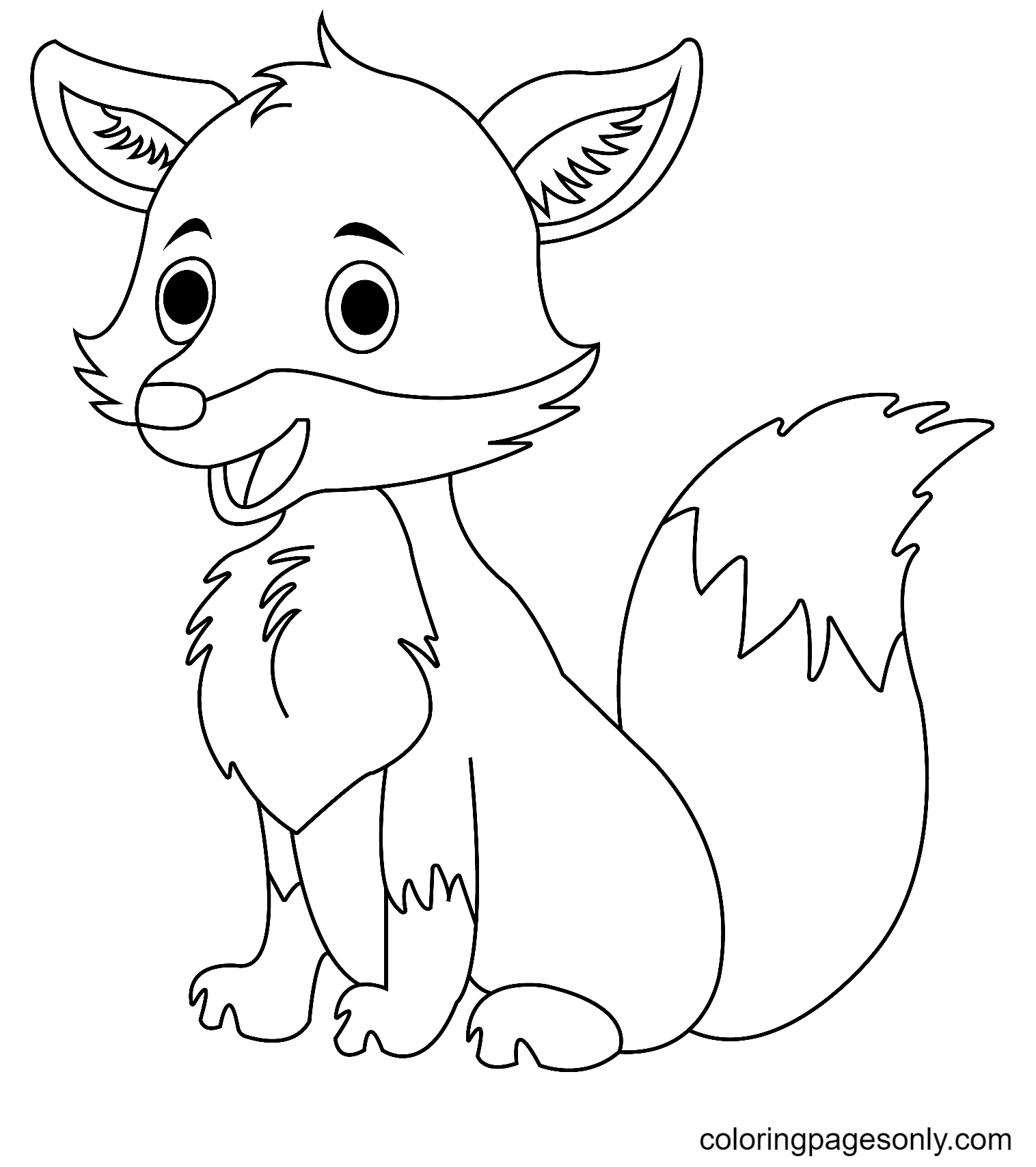 Cute Baby Fox Coloring Page