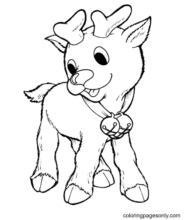 Cute Baby Reindeer With Christmas Bells Coloring Page