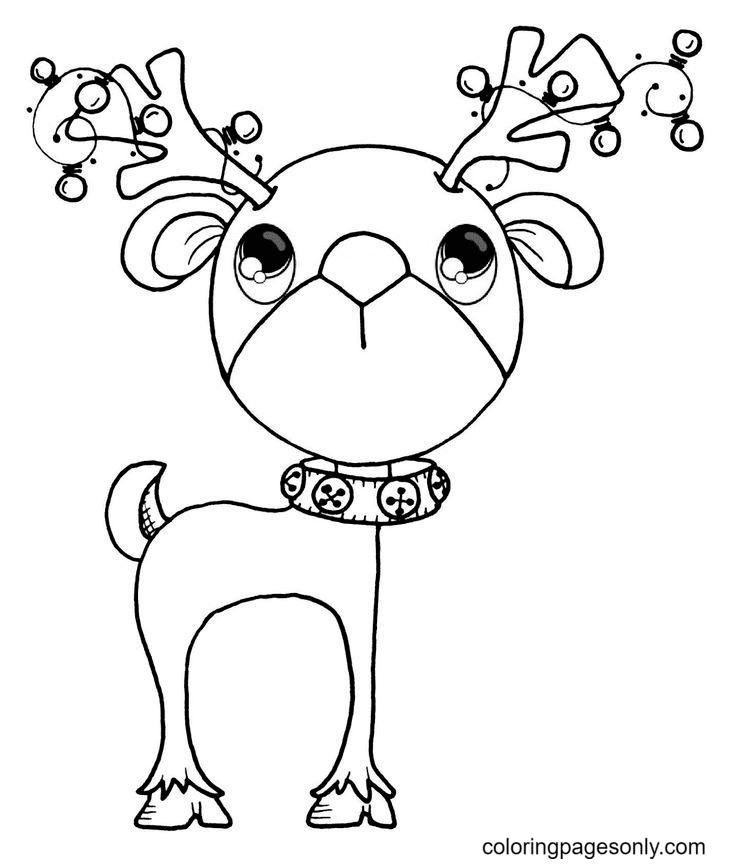 Cute Baby Reindeer Coloring Page