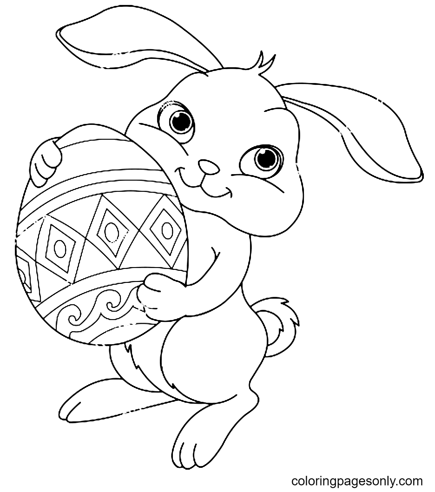 Cute Bunny with Easter Egg Coloring Page