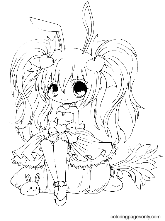 Cute Chibi Anime Bunny Girl Coloring Page