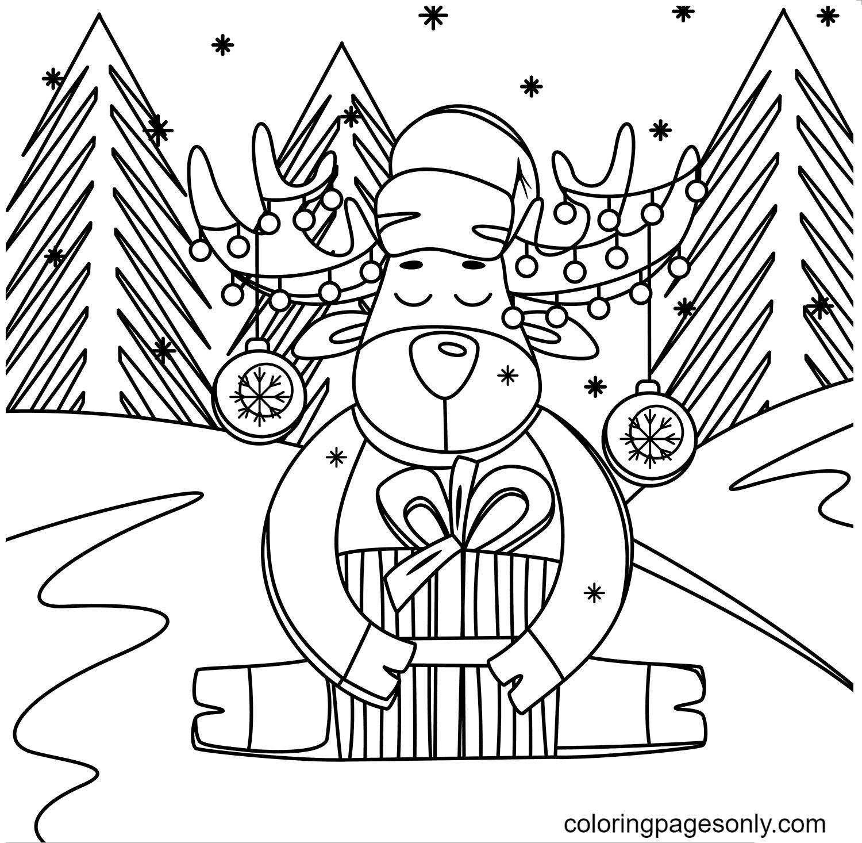 Cute Christmas Reindeer Coloring Page