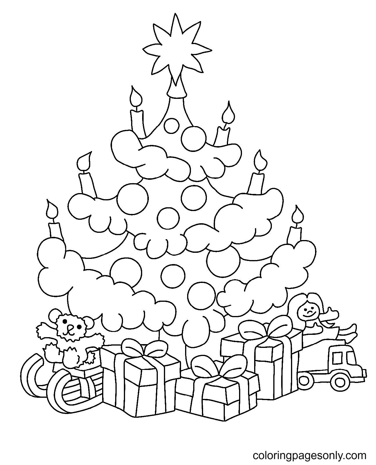 Cute Christmas Tree with Gifts Coloring Page